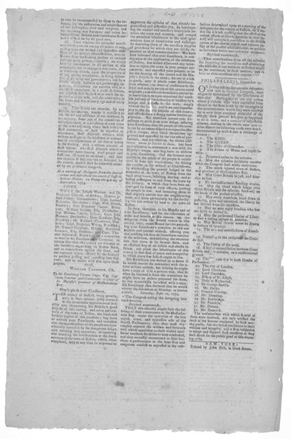 Proceedings of the General Congress of delegates from the several British Colonies in North-America, held in Philadelphia, September, 1774. From the Pennsylvania Packet. To the printer of the Pennsylvania Packet, Sir. Please to insert in your pa