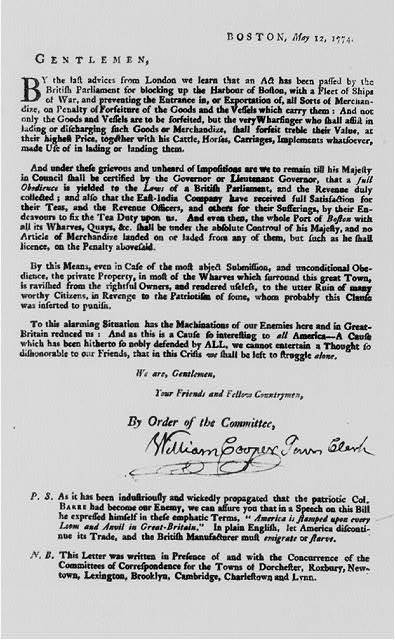 [Revolutionary war broadside: The Boston committee of Correspondence responds to the Boston Port Bill. May 12, 1774]