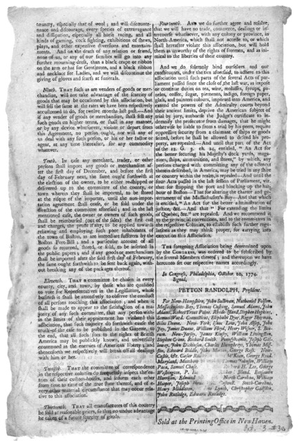 The following extracts from the votes and proceedings of the American Continental Congress we are induced to publish thus early purely to ease the impatience of the public. Association, &c. We his Majesty's most loyal subject's of the several Co
