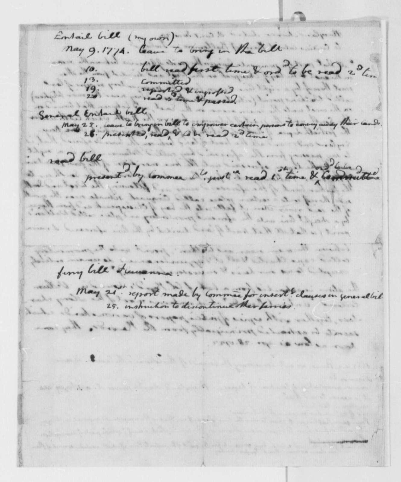Thomas Jefferson, May 9, 1774, Notes on Progress of Three Pending Bills