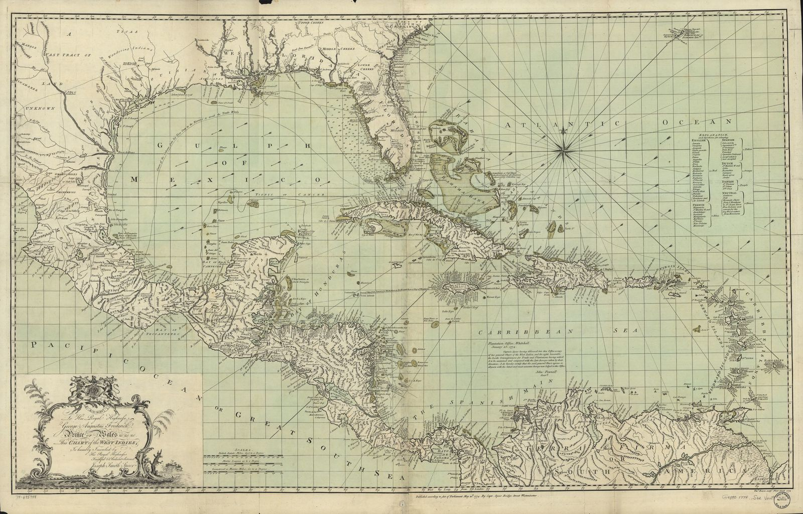 To His Royal Highness. George Augustus Frederick. Prince of Wales &c. &c. &c. This chart of the West Indies,