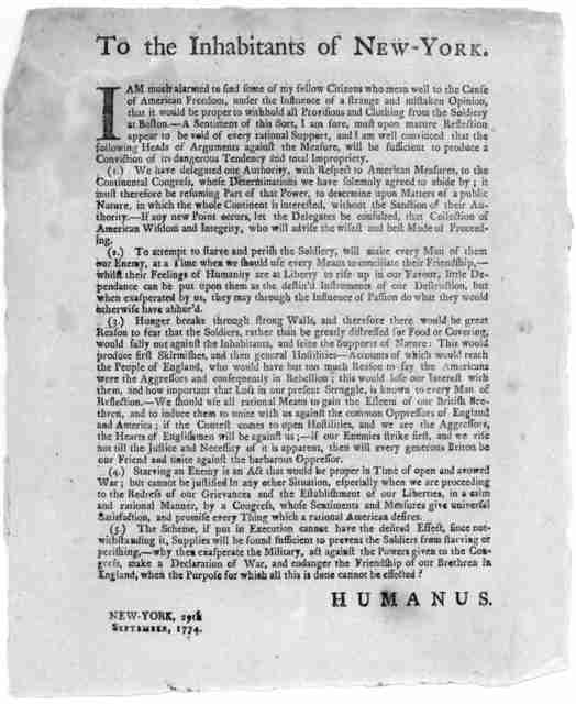 To the inhabitants of New-York. I am much alarmed to find some of my fellow citizens who mean well to the cause of American freedom, under the influence of a strange and mistaken opinion, that it wouldd be proper to withhold all provisions and c