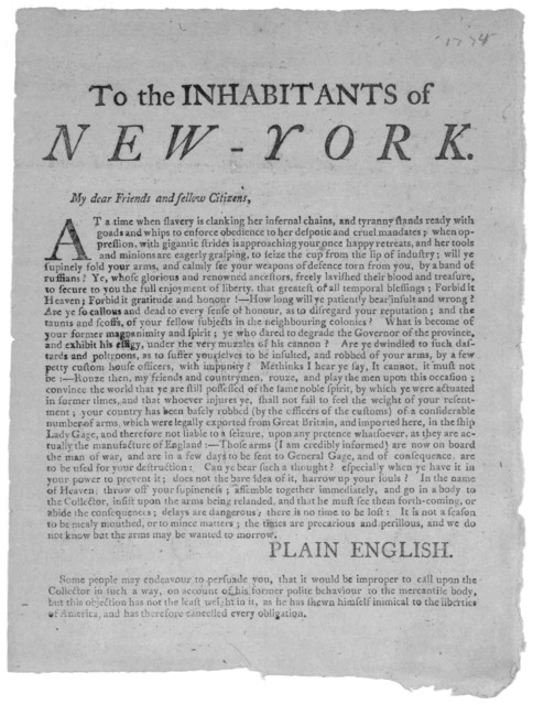 To the inhabitants of New York. My dear friends and fellow citizens. At a time when slavery is clanking her infernal chains, and tyranny stands ready with goads and whips to enforce obedience to her despotic and cruel mandates .... [Signed] Plai