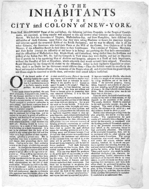 To the inhabitants of the City and Colony of New-York. From Mess. Bradfords' paper of the 22d instant, the following judicious proposals, to the people of pennsylvania are reprinted, as being equally well adapted to this and several other Coloni
