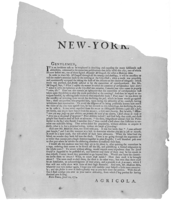 To the inhabitants of the City and County of New York. Gentlemen, It is an invidious task to be employed in detecting and exposing the many falsehoods and absurdities, contained in the numerous publications that daily infest this city; two of wh