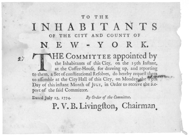 To the inhabitants of the City and County of New-York. The committee appointed by the inhabitants of this City, on the 19th instant at the Coffee-House, for drawing up, and reporting to them, a set of constitutional resolves, do hereby request t