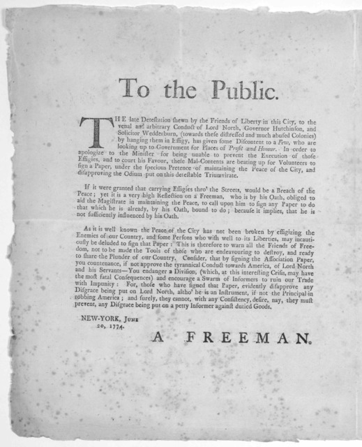 To the people of New-York. Though the association lately set on foot, was on pretence of keeping the peace of the City, yet it is evident that it has a direct tendency to disturb that peace; and that the true design of it was to discourage and p