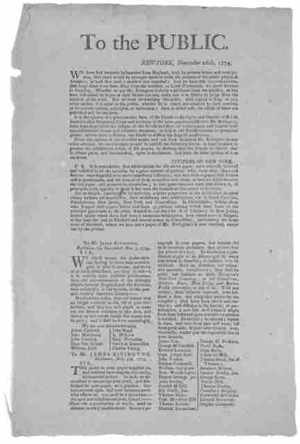 To the public. New-York, November 16th, 1774. We have had frequent intimations from England, both by private letters and news papers that there would be attenpts made to bribe the printers of the public papers in America; at least that such a me