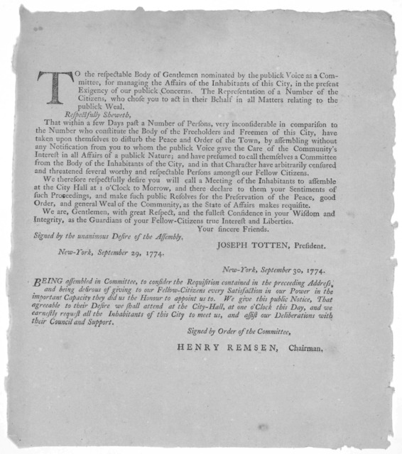 To the respectable body of gentlemen nominated by the publick voice as a committee, for managing the affairs of the inhabitants of this City, in the present exigency of our publick concerns. [Protesting against the action of another committee fr