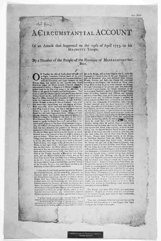 A circumstantial account of an attack that happened on the 19th of April 1775, on his Majesty's troops. By a number of the people of the Province of Massachusetts Bay. On Tuesday the 18th of April, about half past 10 at night, Lieutenant Colonel