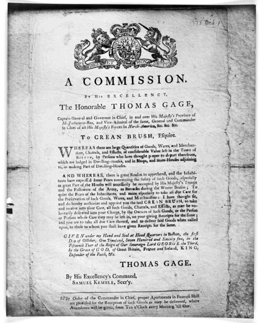 A commission By His Excellency the Honorable Thomas Gage, Captain general and governor in chief, in and over His Majesty's province of the Massachusetts-Bay, and Vice-Admiral of the same, general and commander in chief of all His Majesty's force