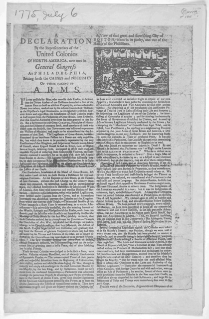 A declaration by the representatives of the United Colonies of North-America, now met in General Congress at Philadelphia, setting forth the causes and necessity of their taking up arms. A view of that great and flourishing City of Boston, when