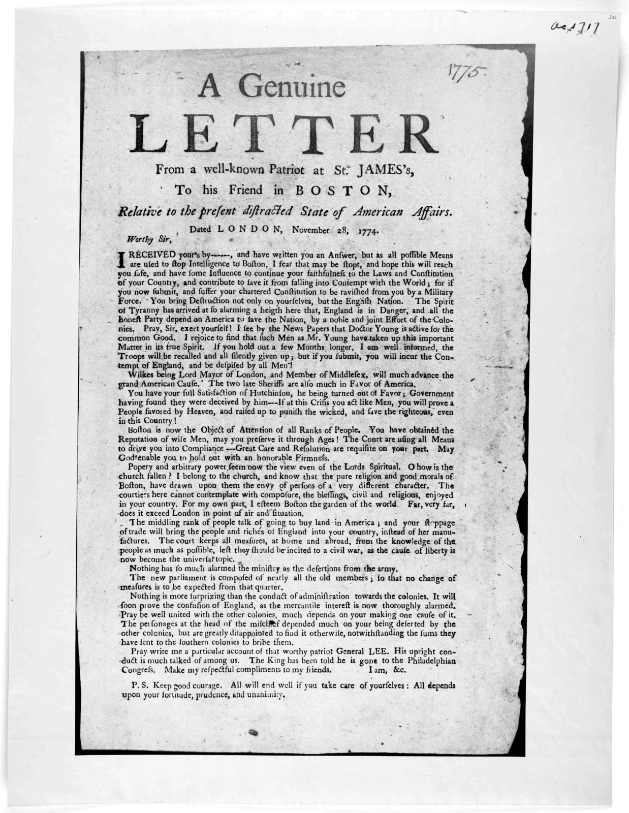 A genuine letter from a well-known patriot at St. James's to his friend in Boston, relative to the present distracted state of American affairs. Dated London, November 28, 1774. [Boston? 1775].
