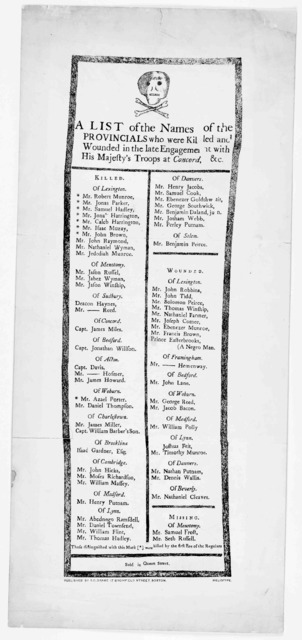 A list of the names of the provincials who were killed and wounded in the late engagement with His Majesty's troops at Concord, &c. [Two columns of names] [Boston: Printed by Edes and Gill] Sold in Queen Street [1775] [Facsimile reprint] Publish