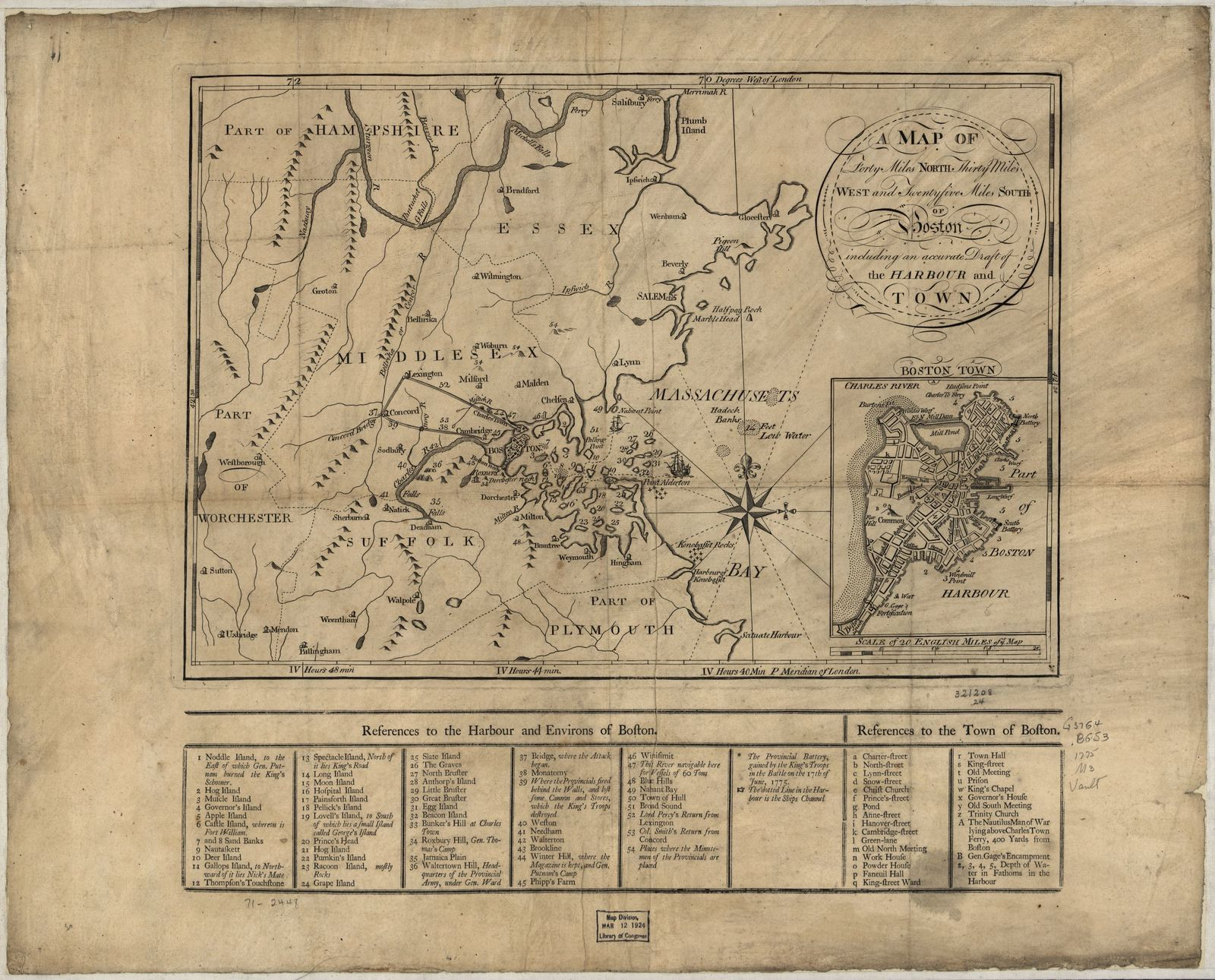A Map of forty miles north, thirty miles west, and twentyfive miles south of Boston, including an accurate draft of the harbour and town.
