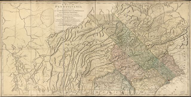 A map of Pennsylvania exhibiting not only the improved parts of that Province, but also its extensive frontiers: Laid down from actual surveys and chiefly from the late map of W. Scull published in 1770; and humbly inscribed to the Honourable Thomas Penn and Richard Penn, Esquires, true and absolute proprietaries & Governors of the Province of Pennsylvania and the territories thereunto belonging.