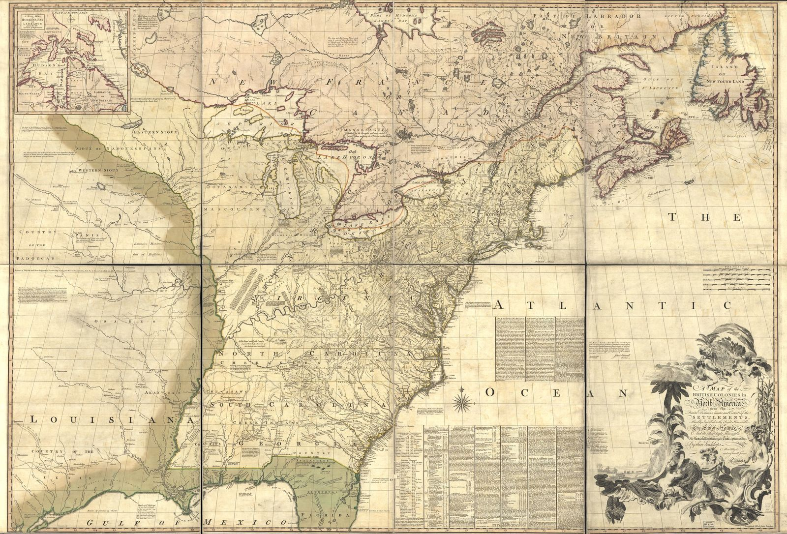 A map of the British colonies in North America, with the roads, distances, limits, and extent of the settlements, humbly inscribed to the Right Honourable the Earl of Halifax, and the other Right Honourable the Lords Commissioners for Trade & Plantations,