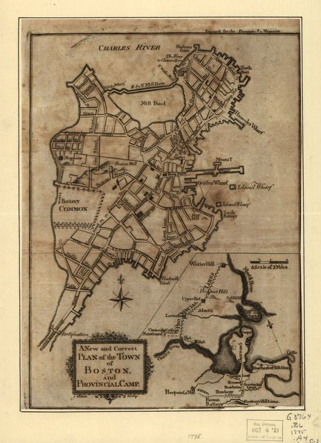 A new and correct plan of the town of Boston, and provincial camp.