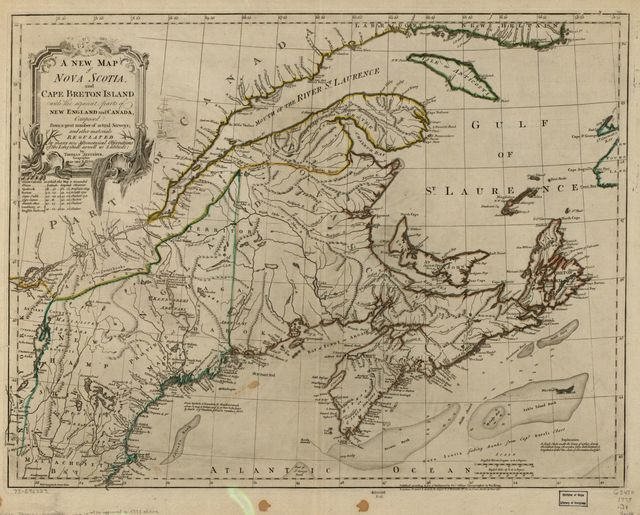 A new map of Nova Scotia, and Cape Breton Island with the adjacent parts of New England and Canada, composed from a great number of actual surveys; and other materials regulated by many new astronomical observations of the longitude as well as latitude;