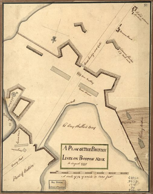 A Plan oe [i.e. of] the British lines on Boston Neck in August 1775.