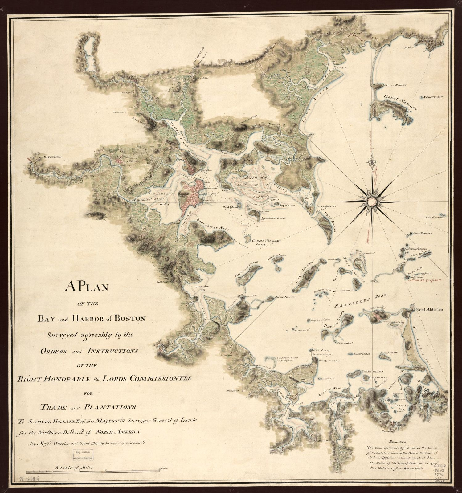 A plan of the bay and harbor of Boston, surveyed agreeably to the orders and instructions of the Right Honorable the Lords Commissioners for Trade and Plantations, to Samuel Holland, Esqr., His Majesty's Surveyor General of Lands for the Northern District of North America,