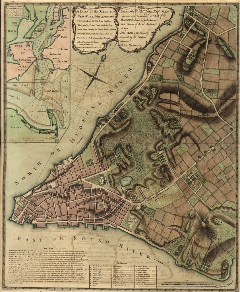 A plan of the city of New-York & its environs to Greenwich, on the North or Hudsons River, and to Crown Point, on the East or Sound River, shewing the several streets, publick buildings, docks, fort & battery, with the true form & course of the commanding grounds, with and without the town. Survey'd in the winter, 1775 [i.e. 1766]
