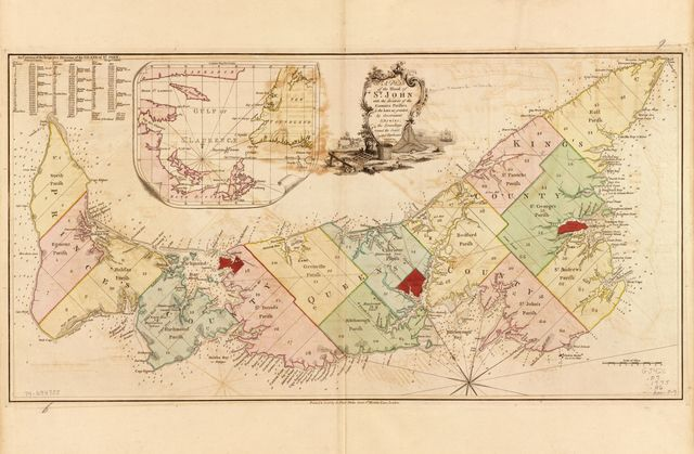 A plan of the island of St. John with the divisions of the counties, parishes, & the lots as granted by government, likewise the soundings round the coast and harbours.