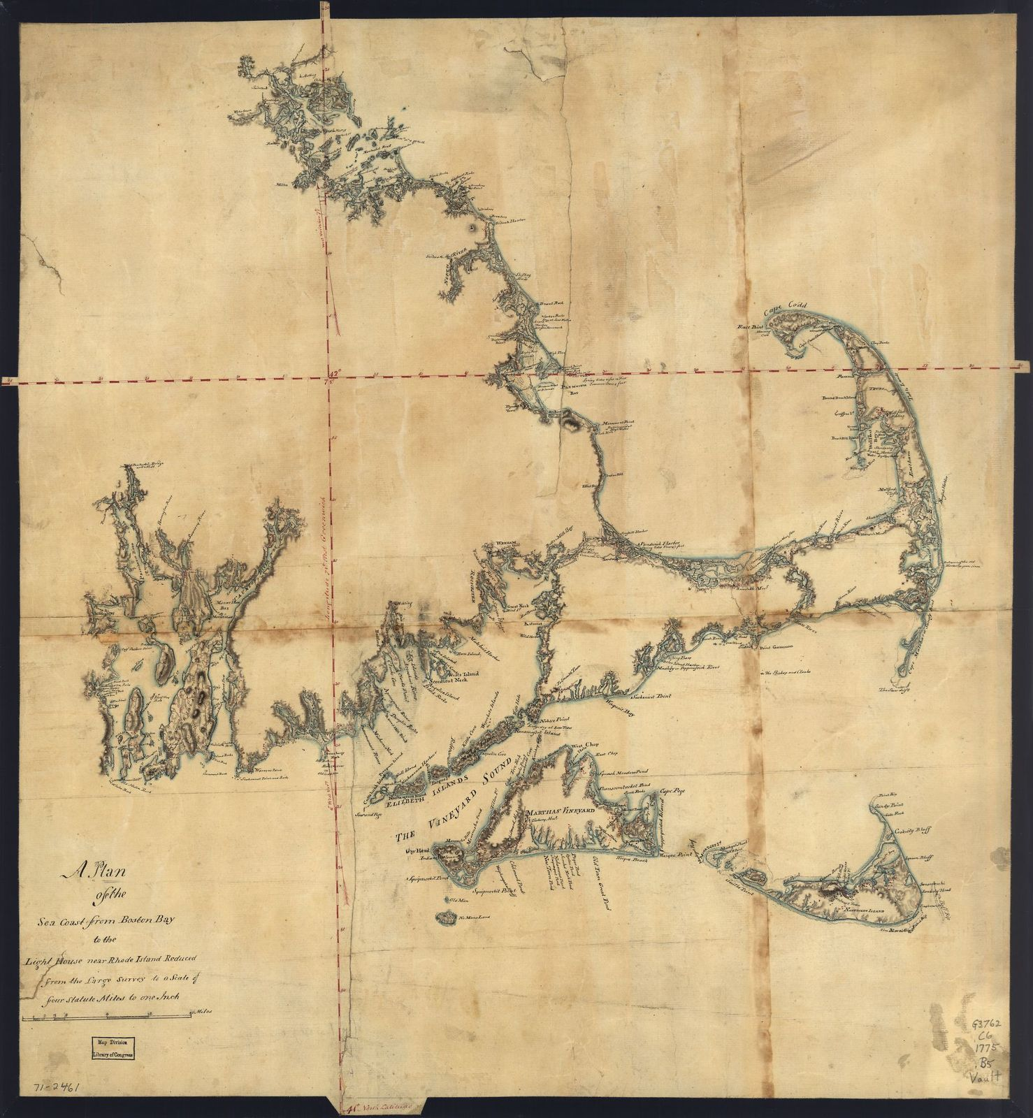 A plan of the sea coast from Boston Bay to the light house near Rhode Island, reduced from the large survey.
