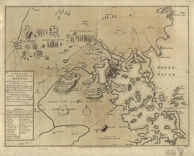 A plan of the town and harbour of Boston and the country adjacent with the road from Boston to Concord, shewing the place of the late engagement between the King's troops & the provincials, together with the several encampments of both armies in & about Boston. Taken from an actual survey.
