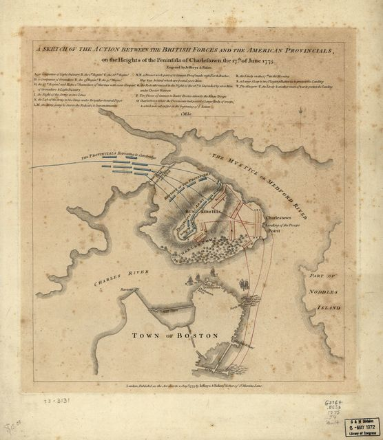 A sketch of the action between the British forces and the American provincials, on the heights of the peninsula of Charlestown, the 17th of June 1775.