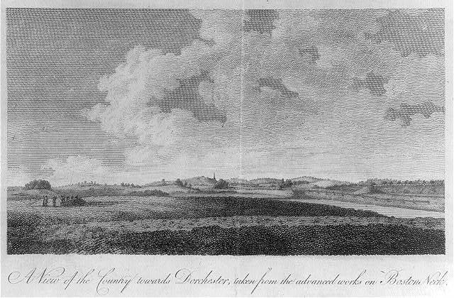 A view of the country towards Dorchester, taken from the advanced works on Boston Neck