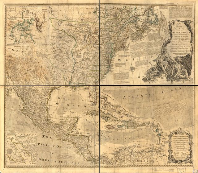 An accurate map of North America. Describing and distinguishing the British and Spanish dominions of this great continent; according to the definitive treaty concluded at Paris 10th Feby. 1763. Also all the West India Islands belonging to, and possessed by the several European princes and states.