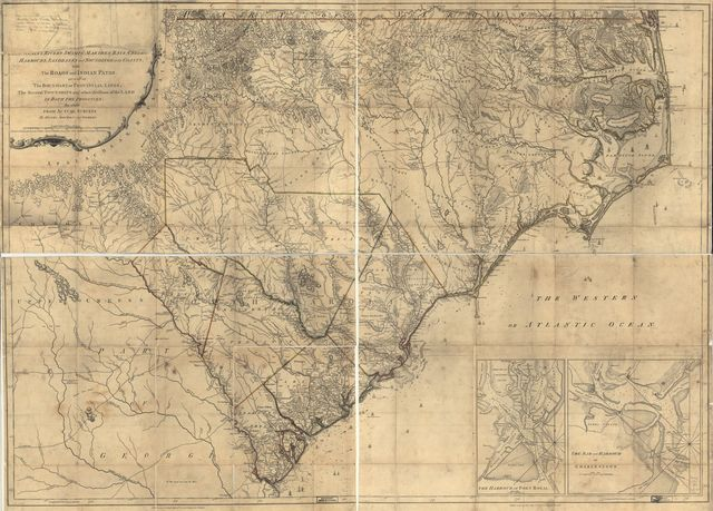 [An accurate map of North and South Carolina, with their Indian frontier, shewing in a distinct manner all the mounta]ins, rivers, swamps, marshes, bays, creeks, harbours, sandbanks and soundings on the coasts; with the roads and Indian paths; as well as the boundary or provincial lines, the several townships, and other divisions of the land in both the provinces;