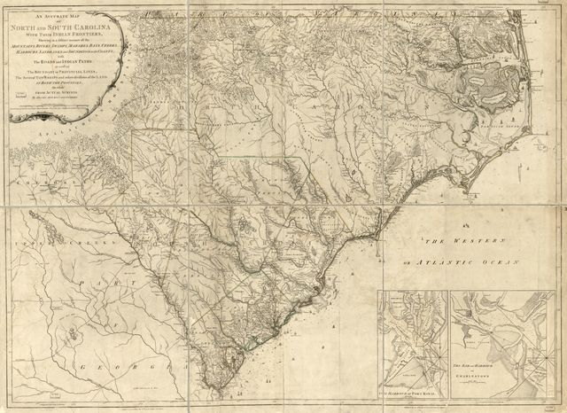 An accurate map of North and South Carolina with their Indian frontiers, shewing in a distinct manner all the mountains, rivers, swamps, marshes, bays, creeks, harbours, sandbanks and soundings on the coasts; with the roads and Indian paths; as well as the boundary or provincial lines, the several townships and other divisions of the land in both provinces;