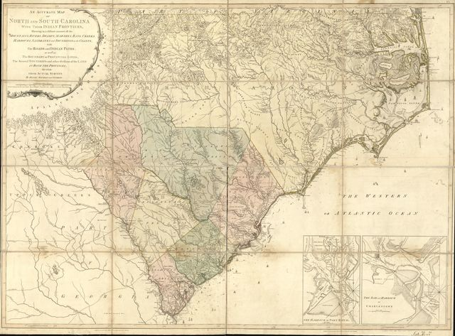An accurate map of North and South Carolina with their Indian frontiers, shewing in a distinct manner all the mountains, rivers, swamps, marshes, bays, creeks, harbours, sandbanks and soundings on the coasts; with the roads and Indian paths; as well as the boundary or provincial lines, the several townships and other divisions of the land in both the provinces;