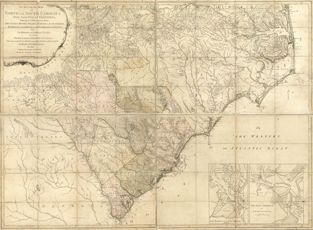 An accurate map of North and South Carolina with their Indian frontiers, shewing in a distinct manner all the mountains, rivers, swamps, marshes, bays, creeks, harbours, sandbanks and soundings on the coasts; with the roads and Indian paths; as well as the boundary of provincial lines, the several townships and other divisions of the land in both the provinces;