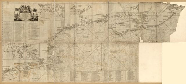 An actual survey of the sea coast from New York to the I. Cape Brition, with tables of the direct and thwart courses & distances from place to place.