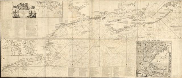An actual survey of the sea coast from New York to the I. Cape Briton, with tables of the direct and thwart courses & distances from place to place.