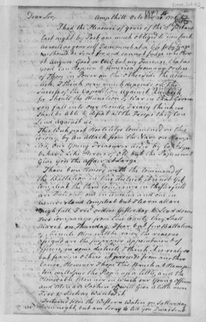 Archibald Cary to Thomas Jefferson, October 31, 1775, Military Affairs; Randolph Family News