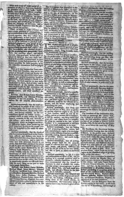 At a convention of delegates for the counties and corporations in the colony of Virginia, at the town of Richmond, in the county of Henrico, on Monday the 20th of March, 1775 ... Williamsburg: Printed by Alexander Purdie [1775].