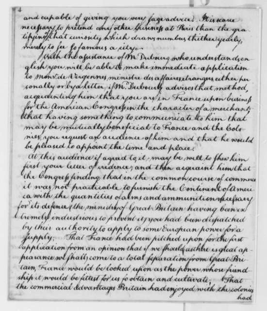 Benjamin Franklin, et al, 1775-76, Continental Congress Committee of Secret Correspondence; Extracts and Certificate from Foreign Affairs Journal