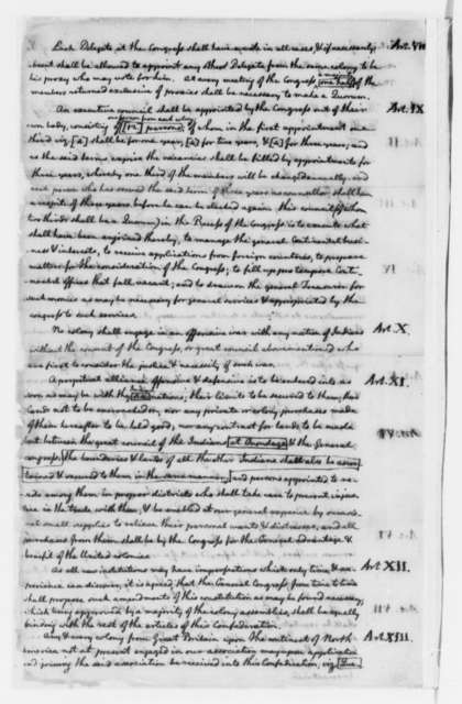 """Benjamin Franklin, May-July 1775, Thomas Jefferson's Copy of """"Articles of Confederation and Perpetual Union""""; Draft and Incomplete Printed Copy"""