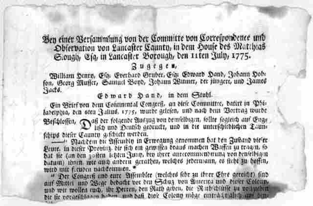 Bey einer Versammlung von der Committee von Correspondence und observation von Lancaster Caunty, in dem House des Matthias Slouth, Esq. in Lancaster Borough, den 11ten July, 1775 ... [Lancaster, Pa. 1775?].