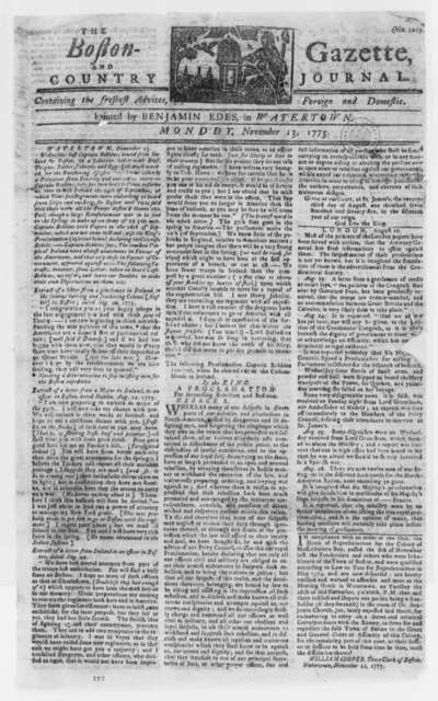 "Boston Gazette and Country Journal (newspaper), November 13, 1775, King George's ""Proclamation for Suppressing Rebellion and Sedition""; Thanksgiving Day"