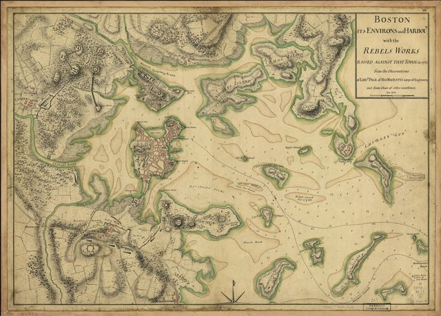 Boston, its environs and harbour, with the rebels works raised against that town in 1775,