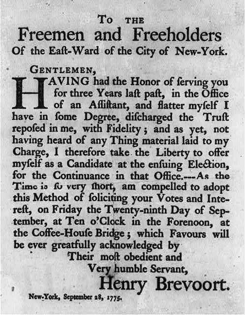 [Candidacy announcement of Henry Brevoort, 1775]