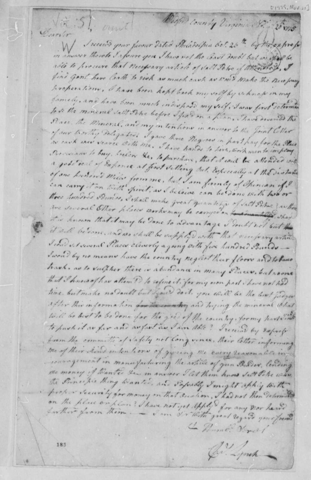 Charles Lynch to Thomas Jefferson, November 20, 1775, Saltpeter Deposits in Virginia