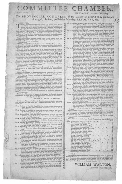Committee chamber, New-York. The Provincial Congress of the Colony of New-York, on the 9th of August, instant, passed the following resolves, viz ... [New York: Printed by John Holt, 1775].