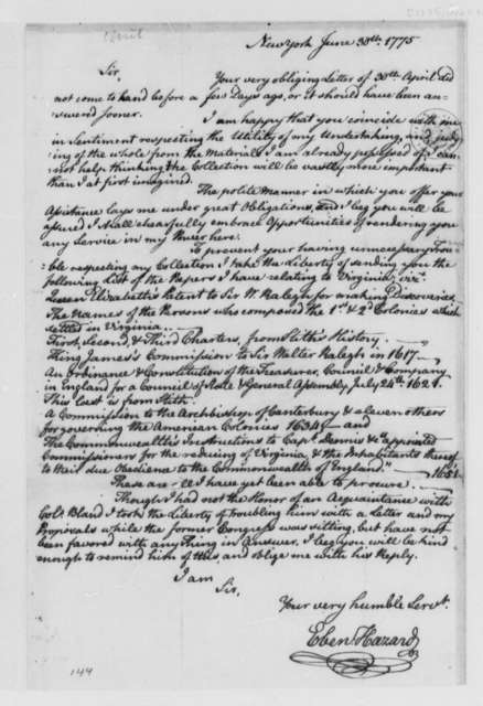 Ebenezer Hazard to Thomas Jefferson, June 30, 1775, Collection of Papers Relating to Virginia