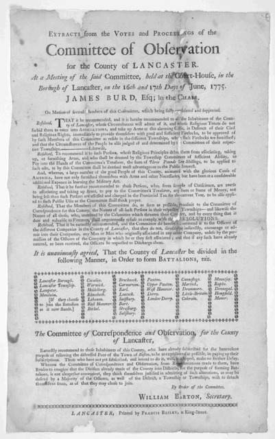 Extracts from the votes and proceedings of the Committee of Observation for the County of Lancaster, at a meeting of the said committee held at the Court-House, in the Borough of Lancaster, on the 10th and 17th days of June, 1775. James Burd, Es